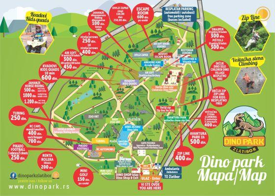 Mapa Dino Park Zlatibor
